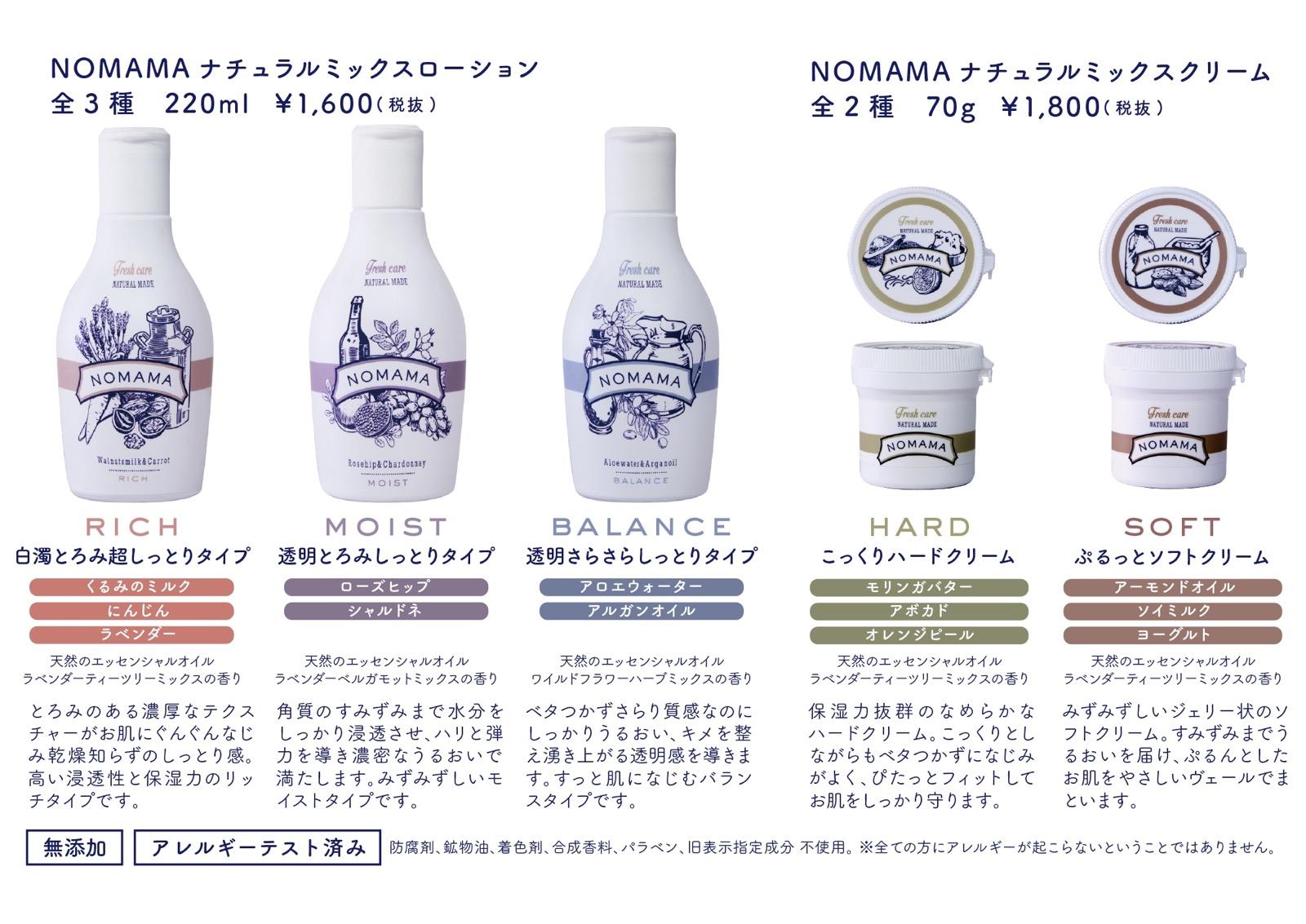 NOMAMA スキンケア ラインアップ